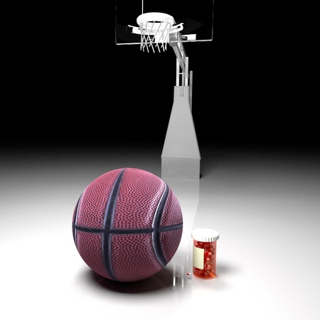 concussion: Pills tube near a basketball, 3d render, square image