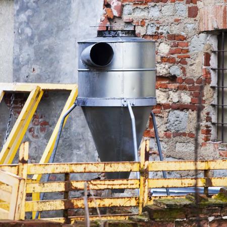 square image: Cement mixer in construction site, square image Stock Photo