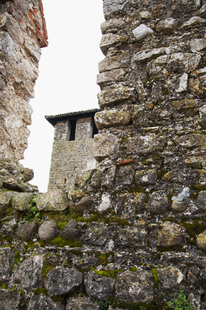 fable: View from a stone wall of a castle, vertical image
