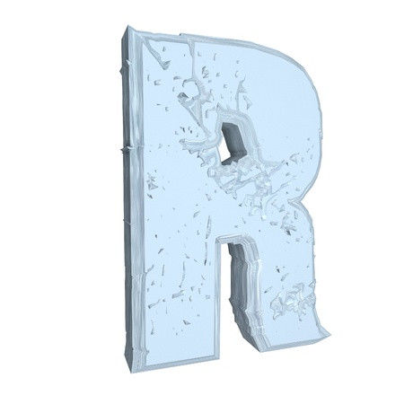 r: Letter R in cement, 3d render, isolated over white