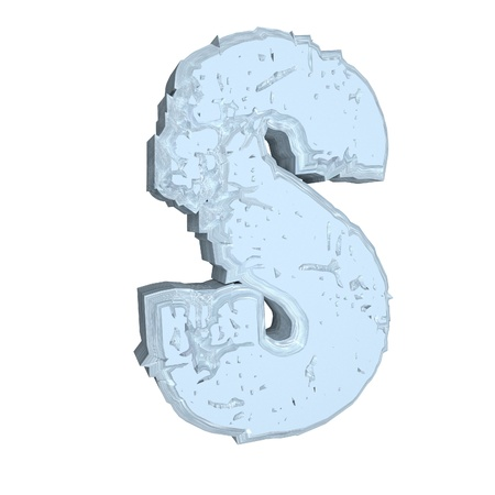 s: Letter S in cement, 3d render, isolated over white