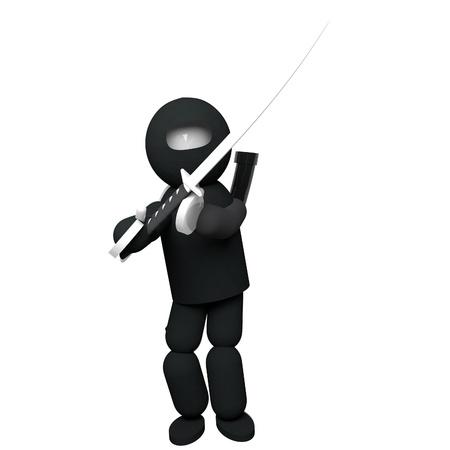 katana: Ninja black dressed with katana, 3d render, isolated over white