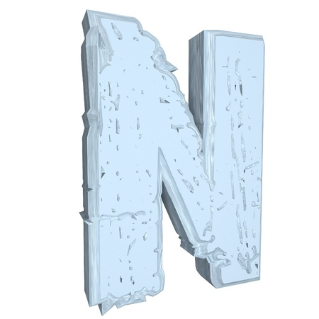 rock n: Letter N in cement, 3d render, isolated over white