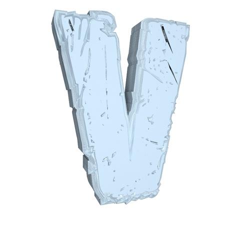 letter v: Letter V in cement, 3d render, isolated over white Stock Photo