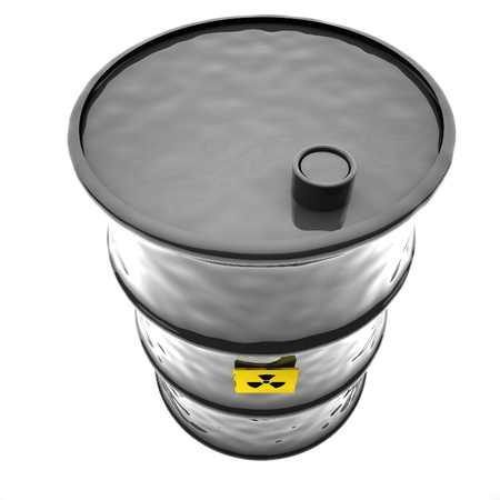 barrels with nuclear waste: Radioactive barrel seen from above, 3d render, square image, isolated over white