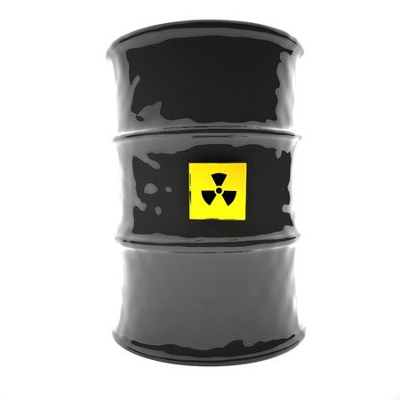 nuclear waste: Radioactive barrel, 3d render, square image, isolated over white Stock Photo