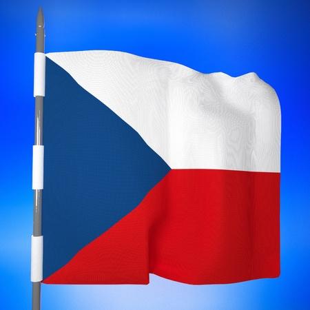 czech republic flag: Czech Republic flag in blue sky, 3d render, square image