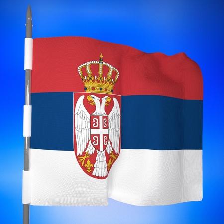 serbia flag: Serbia flag in blue sky, 3d render, square image