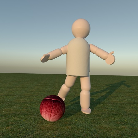 dirty feet: Vintage soccer ball kicked by player, 3d render