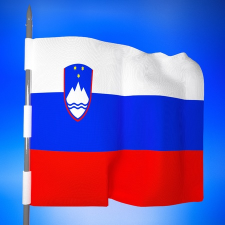 slovenia: Slovenia flag in blue sky, 3d render