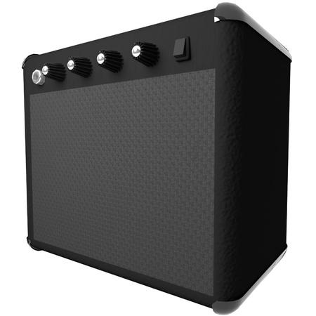 amp: Black amp for guitar, isolated over white, 3d render