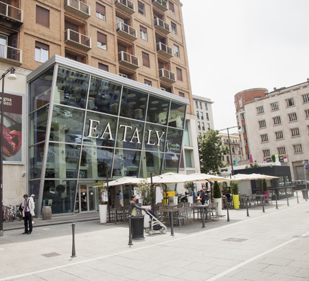 gastronomic: MILAN, ITALY; MAY 26, 2016: Eataly entrance in Milan. Eataly stores in Italian cities sell gastronomic specialties.