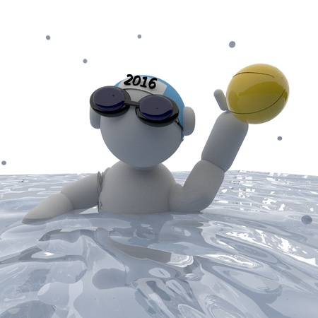 polo player: Water polo player, square image, 3d render