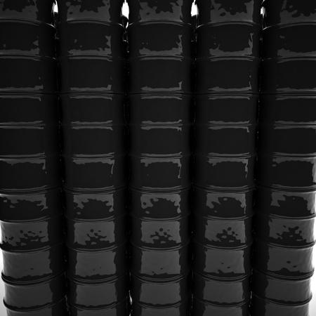 chemical spill: Black barrels in columns, 3d render, square image
