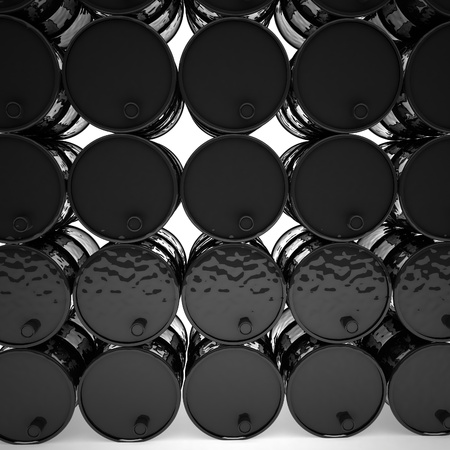 chemical spill: Black barrels in rows, 3d render, square image Stock Photo