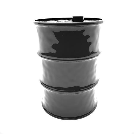 square image: Black barrel isolated over white, 3d render, square image
