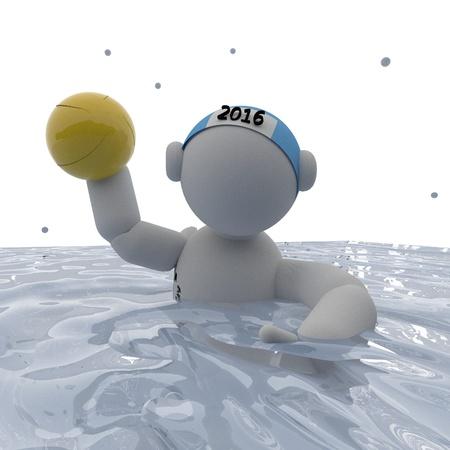 waterpolo: Jugador de waterpolo en la piscina, 3d, imagen cuadrada