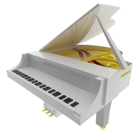 square image: White piano isolated over white, 3d render, square image Stock Photo