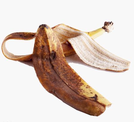 banana peel: Banana peel isolated over white, horizontal image