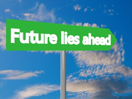 lies: Future lies ahead in blue cloudy sky, 3d rendering