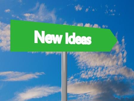 new ideas: New ideas cartel in blue cloudy sky, 3d rendering Stock Photo