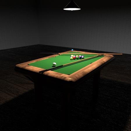 square image: Billiard in low light, square image, 3d rendering