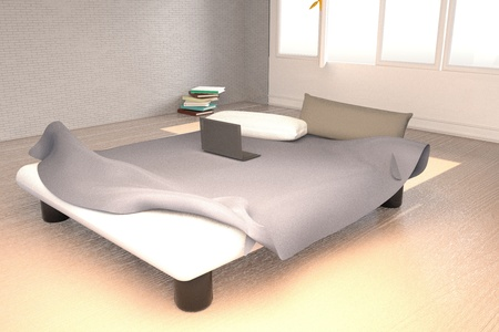 unmade: Bedroom with an unmade bed, 3d rendering
