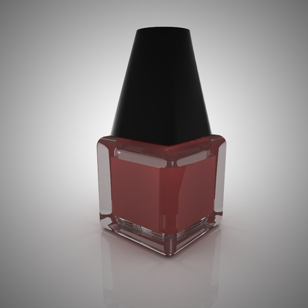 nail polish bottle: Red nail polish in a bottle, 3d rendering Stock Photo