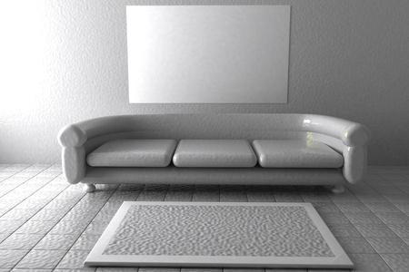 white sofa: White sofa in white lobby, 3d rendering