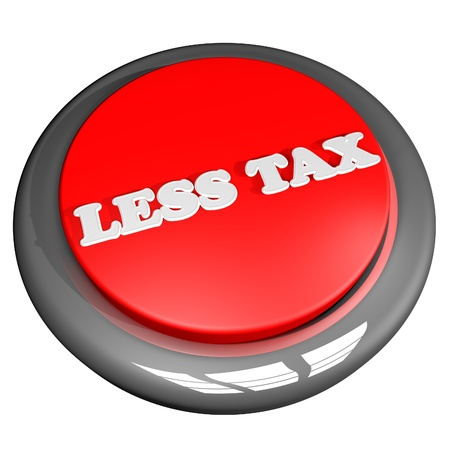 less: Less tax button isolated over white, 3D rendering