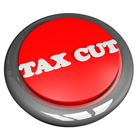 pay cuts: Tax cut button isolated over white, 3D rendering Stock Photo