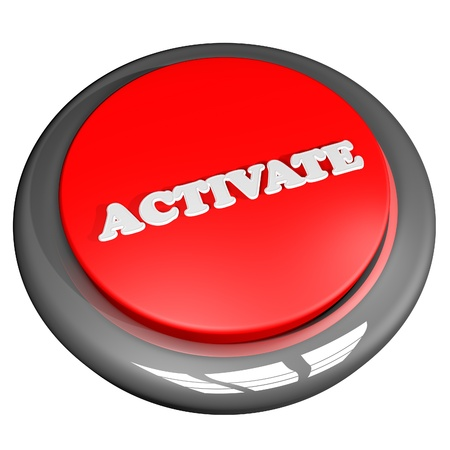 activate: Activate button isolated over white, 3D rendering