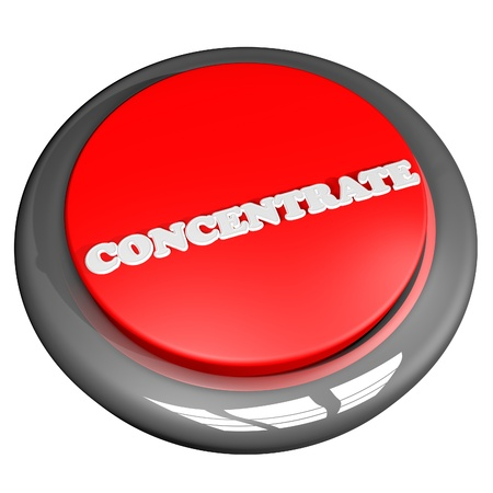 concentrate: Concentrate button isolated over white, 3D rendering