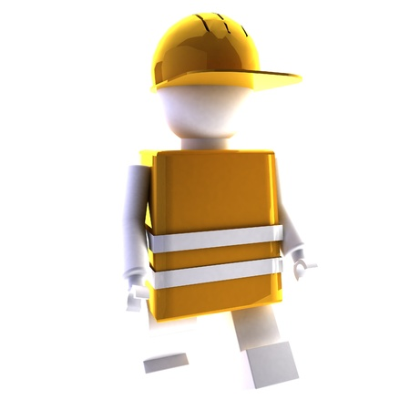 object oppression: Worker puppet over white background, 3d rendering