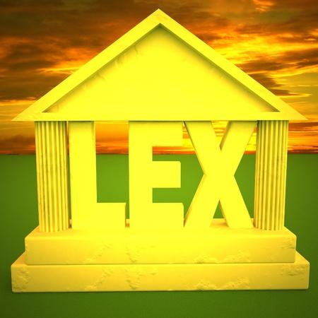 roman pillar: Classic temple with word Lex, 3d rendering