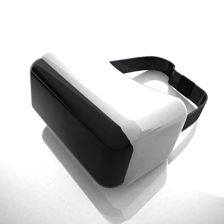 visor: Virtual reality visor over white background, 3d rendering