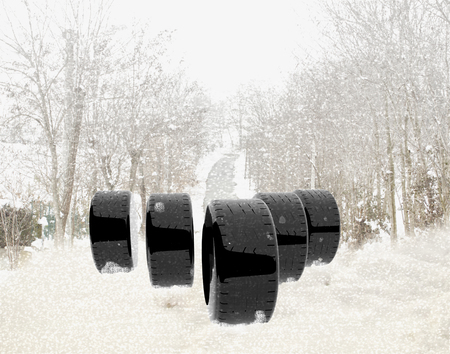 snow tires: Tires over the snow, wood in the back, horizontal image Stock Photo