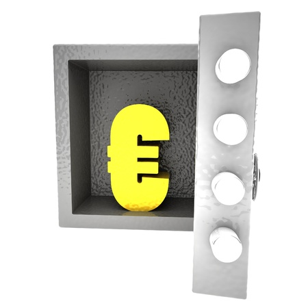 strongbox: Strongbox with Euro symbol inside, 3d rendering