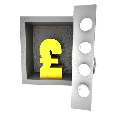 strongbox: Strongbox with British Pound symbol inside, 3d rendering