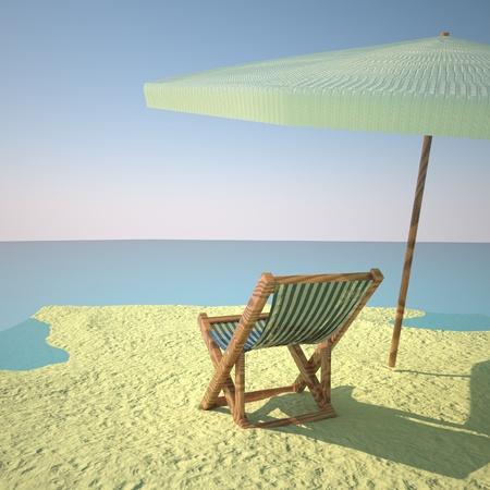 deckchair: Beach with deckchair and umbrella, 3d rendering Stock Photo