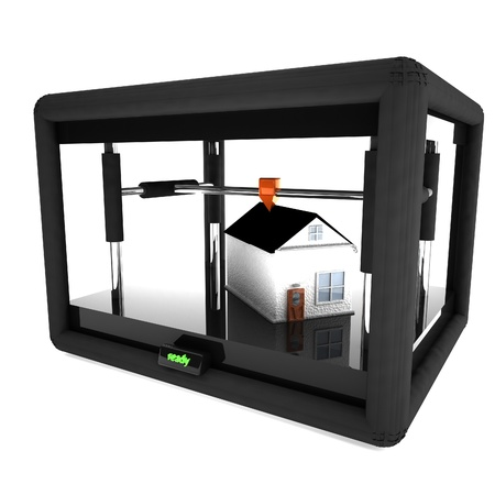 3d printer printing an entire house, 3d rendering