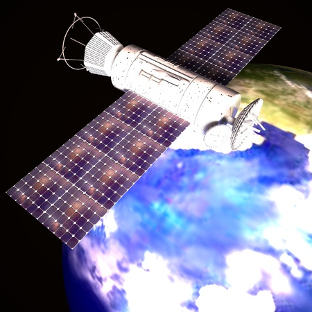 Satellite over Earth planet, square image, 3d rendering Stock Photo