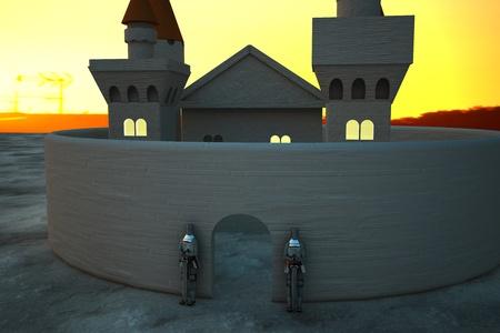 antiquities: Castle in sunset light with armors in defense of door, 3d rendering