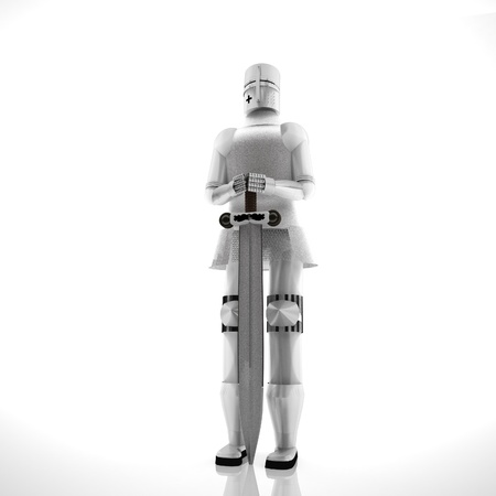 Armor with sword over white background, 3d rendering