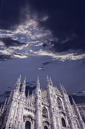 milánó: Duomo of Milan under cloudy sky, vertical image Stock fotó