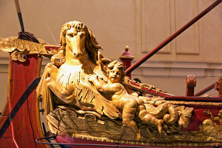 Decorations over Savoia ship in Venaria royal palace, close up Editorial