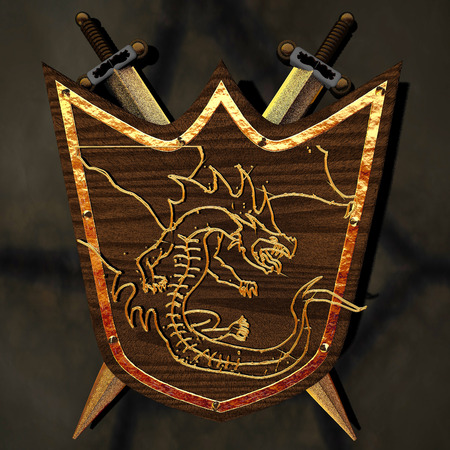 Ancient shield with golden dragon, two swords, on a wall, 3d rendering Stock Photo