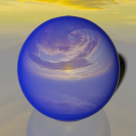 Reflecting blue globe with image of sunset sky, 3d rendering