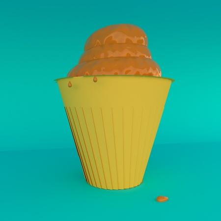 Ice Cream Over Lite Blue Background 3d Rendering Stock Photo