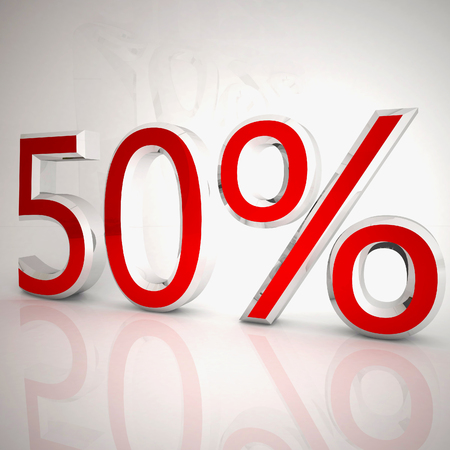 50 per cent over white reflecting background, 3d rendering